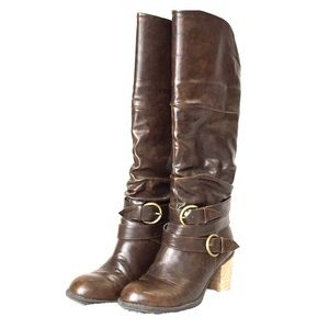 Diba, Dark Brown, Chunky Heel Boots